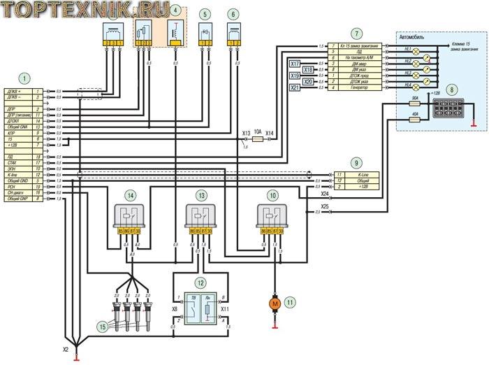 Схема соединения управления мотором ЗМЗ