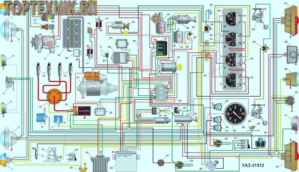 Схема электропроводки УАЗ 31512
